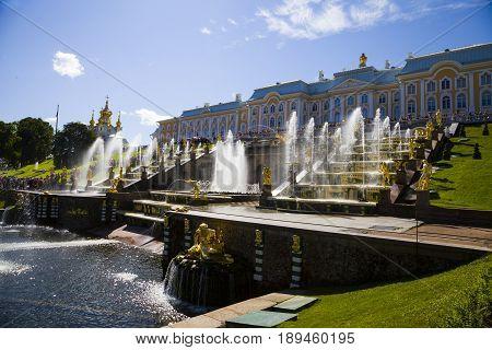 St Petersburg, Russia - August 2, 2015: Grand Cascade At Pertergof Palace.