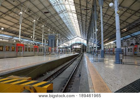 The Rossio Railway Station (Central Station) is a railway station in Lisbon Portugal