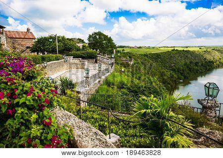 Travel in Dominican Republic. View from the town of Altos de Chavon on the river.