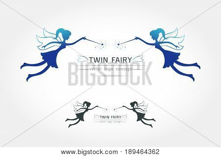 Fairy flying logo vector icon cartoon style. Fairy black silhouette holding a magic wand with magic sparkle. Vector illustration of Fairy with a magic wand isolated on white background