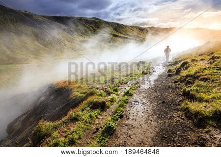 Hiking along Hot River in Reykjadalur Valley in South Iceland