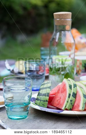 fresh watermelon slice on the garden party