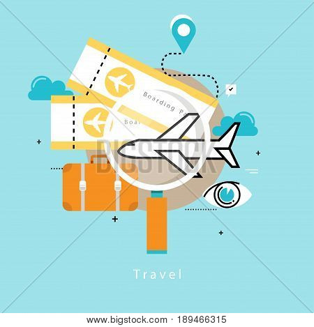 Travelling by plane, summer holiday, airplane trip, vacation flat vector illustration design. Travel, trip planning design for mobile and web graphics
