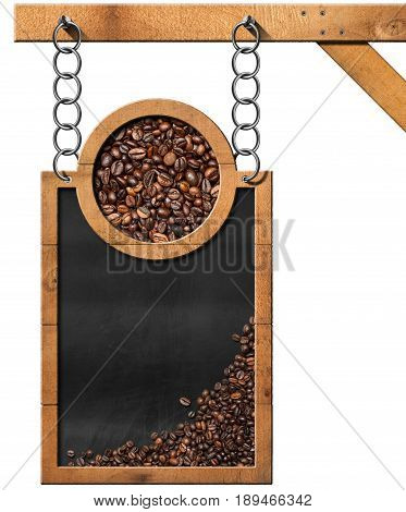 Blackboard with coffee beans and copy space hanging from a metal chain on a wooden pole and isolated on white background