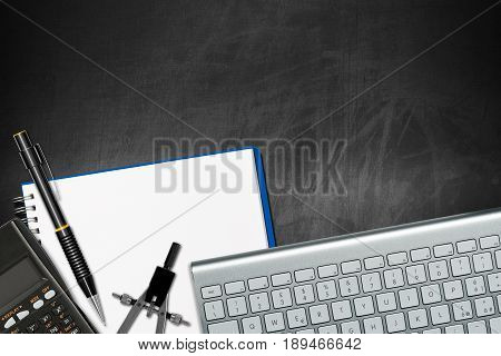 Office desk - top view on an empty blackboard with copy space