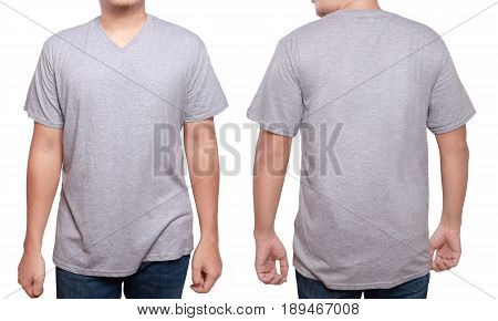 Misty Grey t-shirt mock up front and back view isolated. Male model wear plain gray shirt mockup. V-Neck shirt design template. Blank tees for print