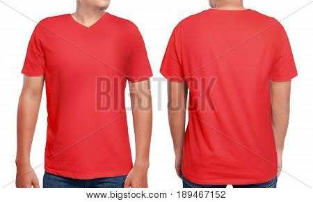 Red t-shirt mock up front and back view isolated. Male model wear plain red shirt mockup. V-Neck shirt design template. Blank tees for print