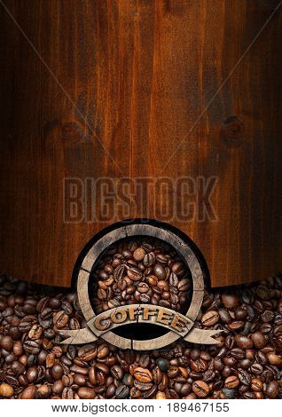 Rustic template for a coffee house with a wooden round symbol with roasted coffee beans