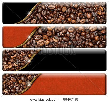 Set of four horizontal web banners with roasted coffee beans and copy space. Isolated on a white background
