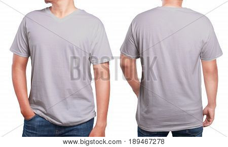 Grey t-shirt mock up front and back view isolated. Male model wear plain grey shirt mockup. V-Neck shirt design template. Blank tees for print