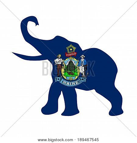The Maine Republican elephant flag over a white background