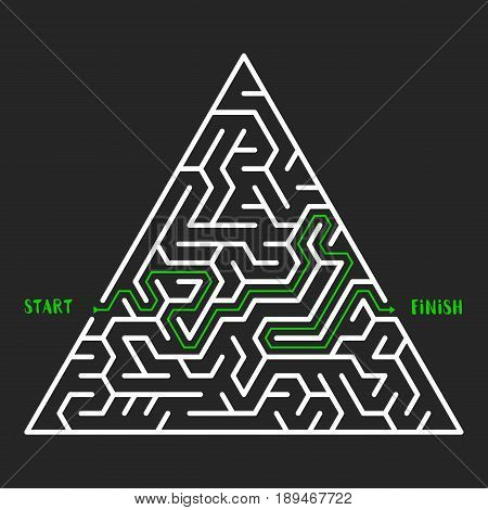 Triangular Maze Game background. Labyrinth with entry and exit. Vector Illustration.