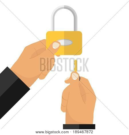 The hand with the key opens the lock. The hand holds the lock. Flat design vector illustration vector.