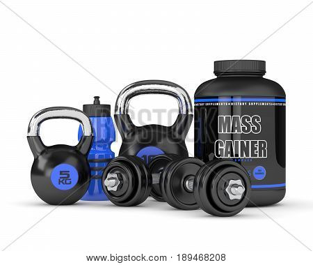 3D Render Of Mass Gainer With Dumbbells And Kettlebells