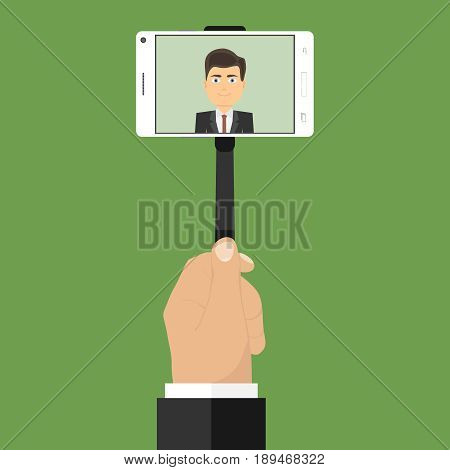Man makes selfie. A man is taking pictures of himself on the phone. Flat design vector illustration vector.