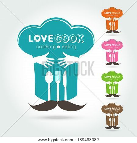 set of Hug and Love Cooking Logo vector Logo template