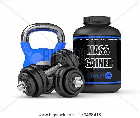 3D Render Of Mass Gainer With Dumbbells And Kettlebell