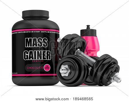 3D Render Of Mass Gainer With Dumbbells