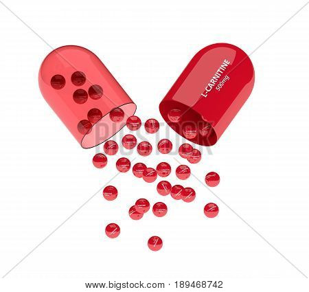 3D Render Of L-carnitine Pill With Granules