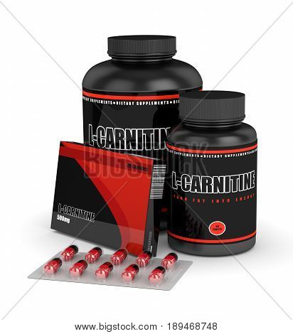3D Render Of L-carnitine Bottles With Pills Over White