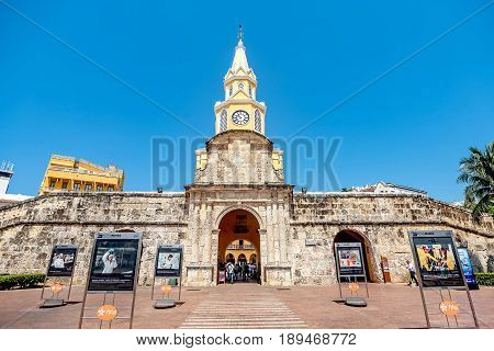 Cartagena, Colombia- March 2, 2017: The Clock Tower in the entrance of the old town Cartagena Colombia
