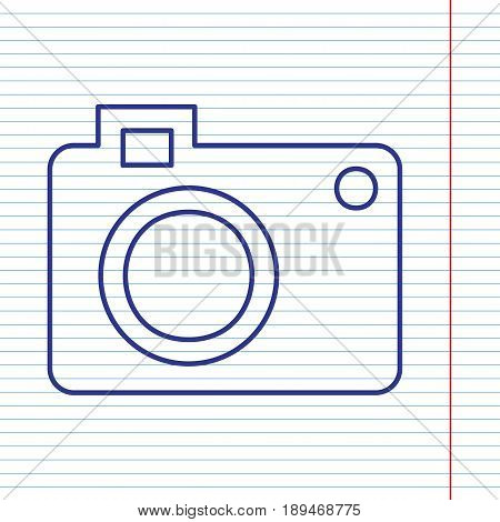 Digital camera sign. Vector. Navy line icon on notebook paper as background with red line for field.