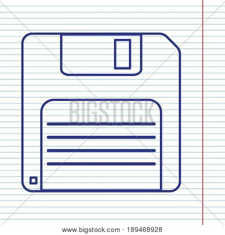 Floppy disk sign. Vector. Navy line icon on notebook paper as background with red line for field.