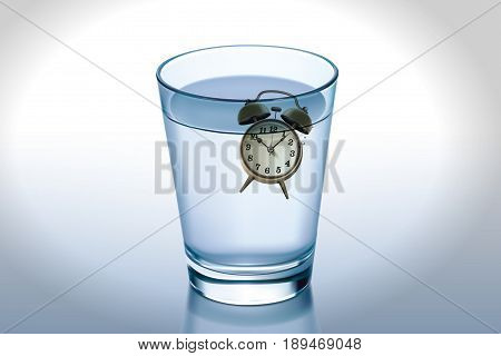 Waste of time concept : Alarm clock on water in glass. (3D Illustration)