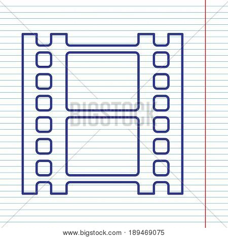 Reel of film sign. Vector. Navy line icon on notebook paper as background with red line for field.