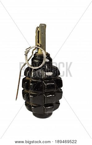Black Hand Grenade Isolated On White