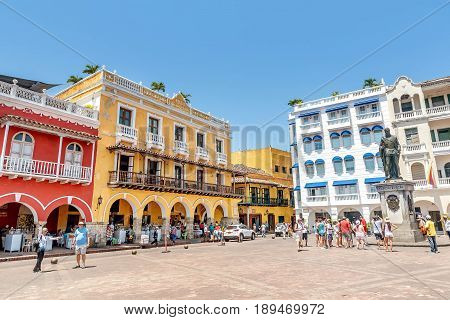 Cartagena, Colombia- March 2, 2017: Monument to San Pedro de Heredia t the Plaza de la Coches at the old town Cartagena Colombia