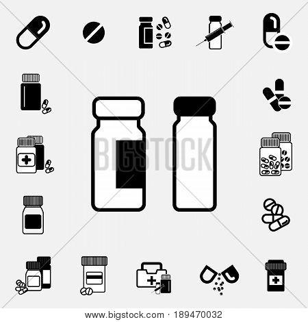 Medical Ampoule Or Vaccine Icon Set