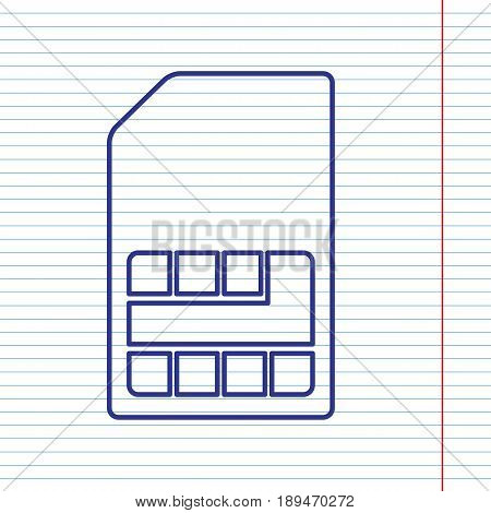 Sim card sign. Vector. Navy line icon on notebook paper as background with red line for field.
