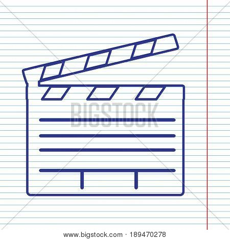 Film clap board cinema sign. Vector. Navy line icon on notebook paper as background with red line for field.