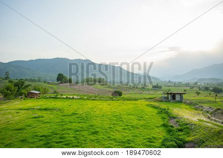 Natural view with small hut in the evening at Pai, Thailand.