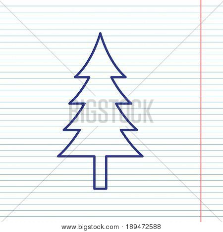 New year tree sign. Vector. Navy line icon on notebook paper as background with red line for field.