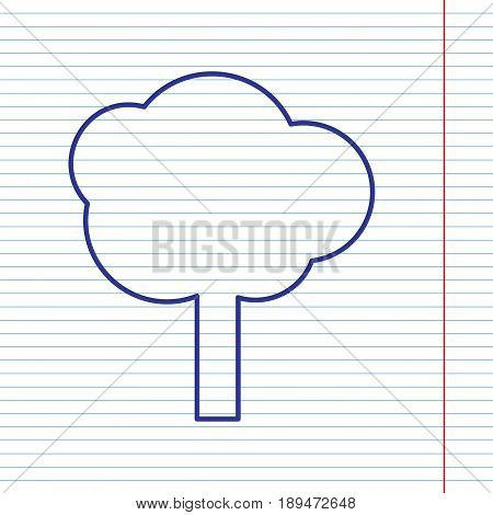 Tree sign illustration. Vector. Navy line icon on notebook paper as background with red line for field.