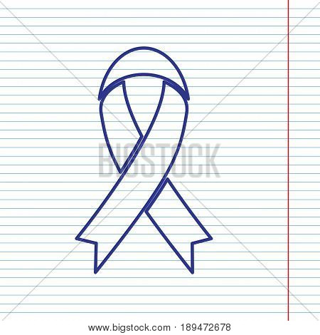 Black awareness ribbon sign. Vector. Navy line icon on notebook paper as background with red line for field.