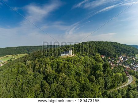 Aerial Photo Of The Vexier-chapel Near The Village Of Reifenberg At The Franconian Suisse, Germany -