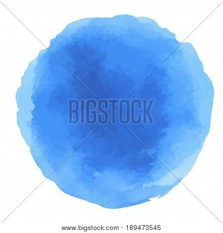 Abstract Watercolor blue hand painted dots. Beautiful watercolor circle design elements. Watercolor background. Color trend