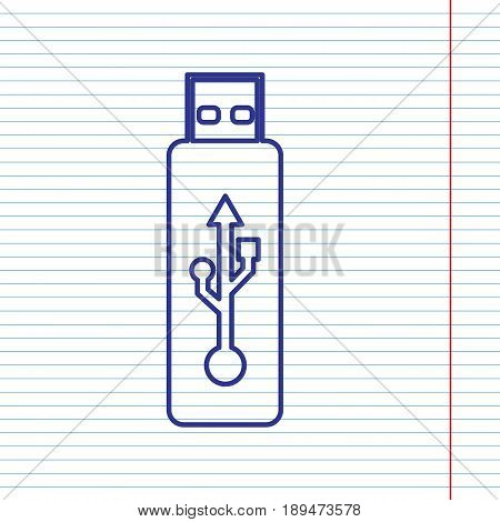 Vector USB flash drive sign. Vector. Navy line icon on notebook paper as background with red line for field.