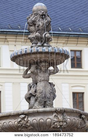 Prague Castle Hradcany fountain on the courtyard Prague Czech Republic