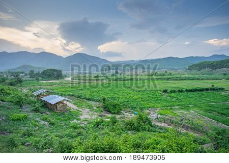 Natural view with a small hut in the evening at Pai, Thailand.