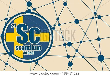 Scandium chemical element. Sign with atomic number and atomic weight. Chemical element of periodic table. Molecule And Communication Background. Connected lines with dots. Flag of Sweden