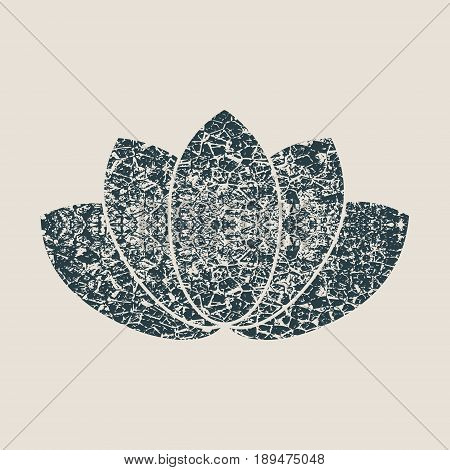 Lotus flower symbol. Design element for branding. Grunge cracked texture