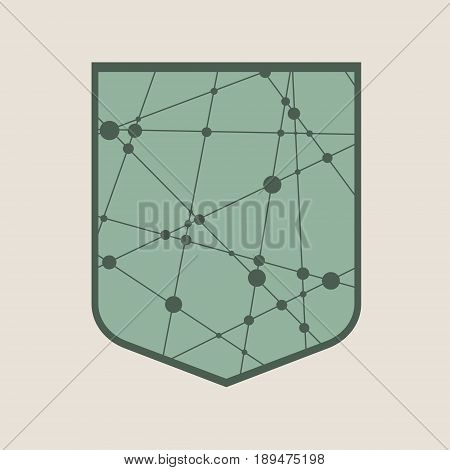 Template vector, shield low poly style. Abstract polygonal shield. Antivirus concept. Molecule And Communication design. Connected lines with dots.