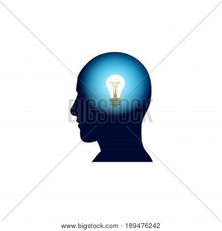 Head With Light Bulb In Brain, Brainstorm Thinking New Idea Concept Icon Flat Vector Illustration
