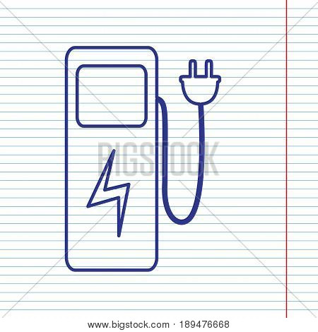 Electric car charging station sign. Vector. Navy line icon on notebook paper as background with red line for field.