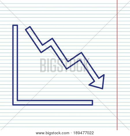 Arrow pointing downwards showing crisis. Vector. Navy line icon on notebook paper as background with red line for field.