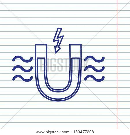 Magnet with magnetic force indication. Vector. Navy line icon on notebook paper as background with red line for field.